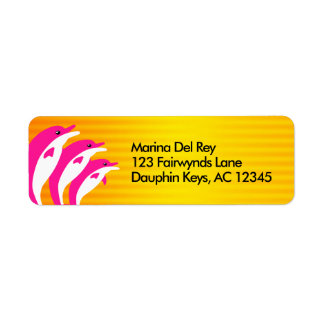Pink Dolphins Dancing in the Tropical Sun Return Address Label