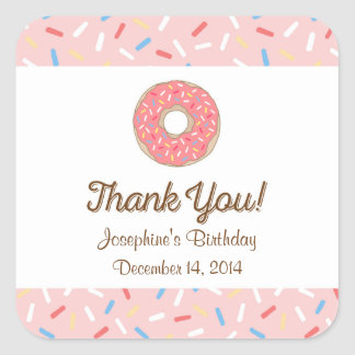 Pink Donut Birthday Stickers