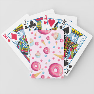 Pink Donut Collage Bicycle Playing Cards