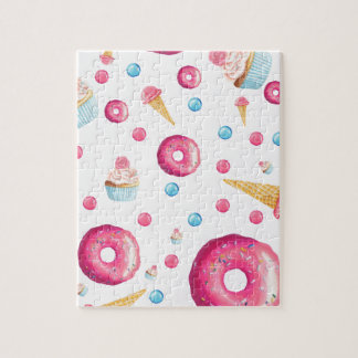 Pink Donut Collage Jigsaw Puzzle
