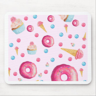 Pink Donut Collage Mouse Pad