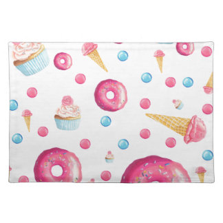 Pink Donut Collage Placemat