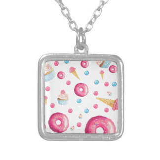 Pink Donut Collage Silver Plated Necklace