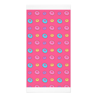 Pink donut pattern photo card