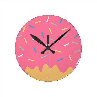 Pink Donut Round Clock