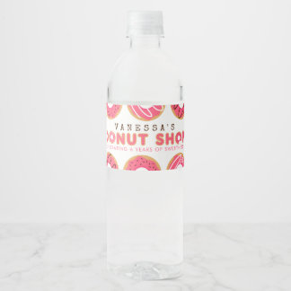 Pink Donut Shop Birthday Party Water Bottle Label