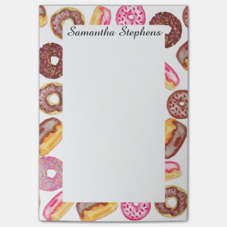 Pink Donut Typography and Watercolor Cute Donuts Post-it Notes