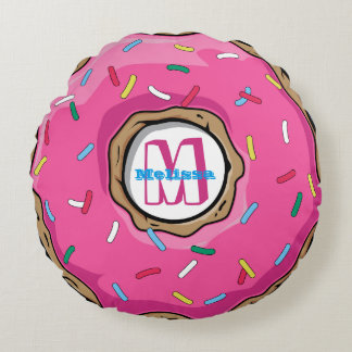 Pink Donut with Sprinkles Monogrammed Round Cushion