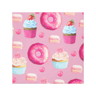 Pink Donuts, Cupcakes, and Candies Canvas Print