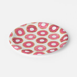 Pink Donuts Pattern Paper Plate