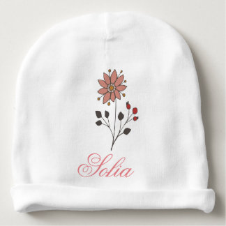 Pink doodle daisy flower baby beanie