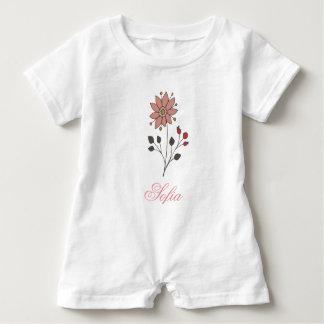 Pink doodle daisy flower baby bodysuit