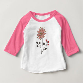Pink doodle daisy flower baby T-Shirt