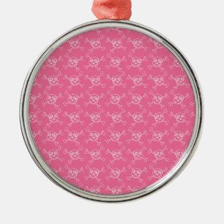 Pink Doodle Punk Rock Skull Pattern Christmas Tree Ornament