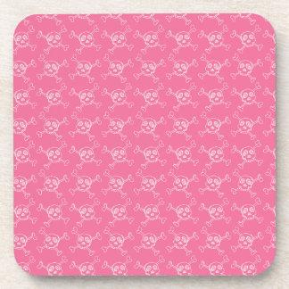 Pink Doodle Punk Rock Skull Pattern Drink Coaster