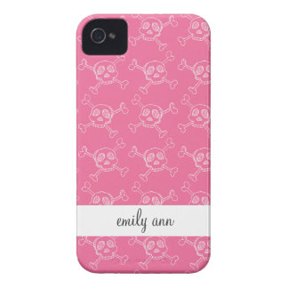 Pink Doodle Punk Rock Skull Pattern iPhone 4 Case