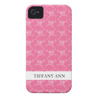 Pink Doodle Punk Rock Skull Pattern iPhone 4 Covers