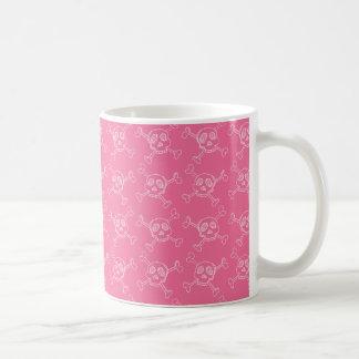 Pink Doodle Punk Rock Skull Pattern Classic White Coffee Mug