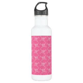 Pink Doodle Punk Rock Skull Pattern 24oz Water Bottle