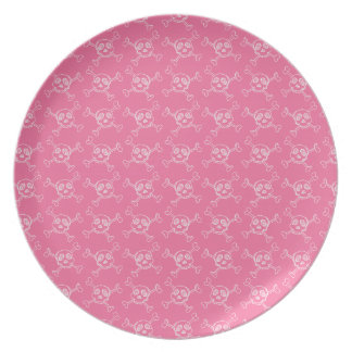 Pink Doodle Punk Rock Skull Pattern Party Plates