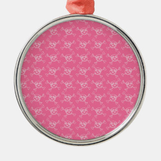 Pink Doodle Punk Rock Skull Pattern Silver-Colored Round Decoration