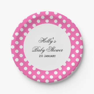 Pink Dot Baby Shower Plates, Pink Party Plates