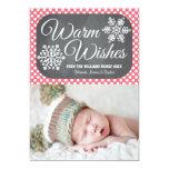 Pink Dot Chalkboard Snowflake Holiday Photo Card 13 Cm X 18 Cm Invitation Card