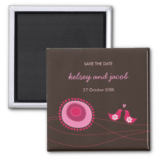 Pink Dot Flowers & Happy Bird Save The Date Magnet