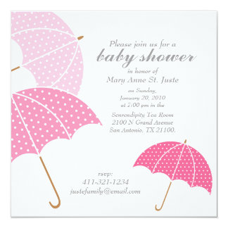 pink dot umbrella BABY SHOWER sprinkle invitation