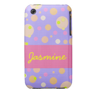 Pink  Dot Yellow Bubbles Customizable iPhone Speck iPhone 3 Cases