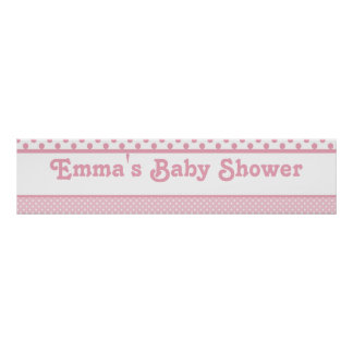 Pink Dots Baby Shower Banner Poster