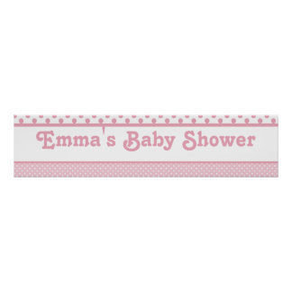 Pink Dots Baby Shower Banner Posters