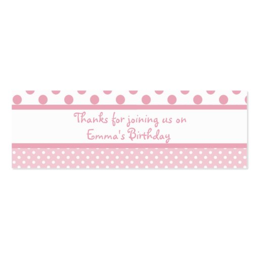 Pink Dots Birthday Favor Tag Business Card Templates