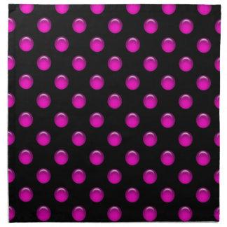 Pink Dots Black Napkin