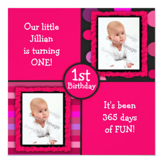 Pink Dots Girls First Birthday Photo Invitation