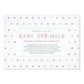 Pink Dots Modern Clean Girl Baby Sprinkle Invite