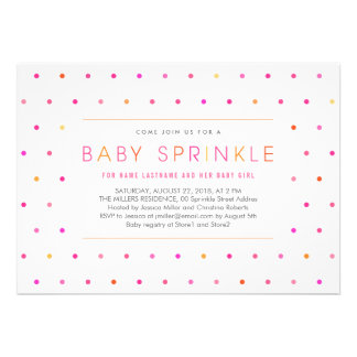 Pink Dots Modern Clean Girl Baby Sprinkle Invite Personalized Announcements