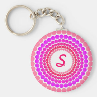 Pink Dots Monogram Key Ring