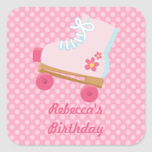Pink Dots Rollerskate Birthday Square Stickers