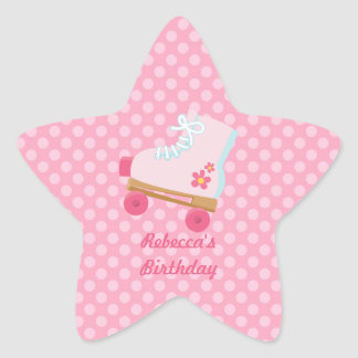 Pink Dots Rollerskate Birthday Star Stickers