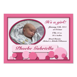 Pink Dotted Fun Birth Announcements