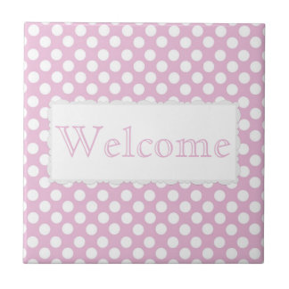Pink Dotty Polka Dot Ceramic Tile