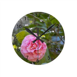 Pink double Camellia Clock