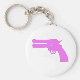 Pink Double Love Gun Basic Round Button Key Ring