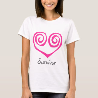 Pink Double Spiral Heart Breast Cancer Survivor T-Shirt