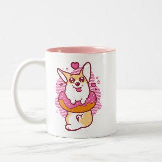 Pink Doughnut Corgi Mug