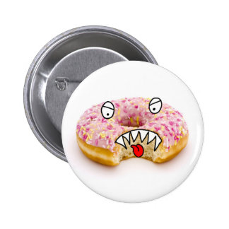 pink doughnut monster button