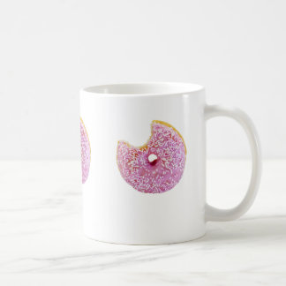 pink doughnut with a missing bite mug