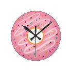 Pink Doughnut with Rainbow Sprinkles Round Clock