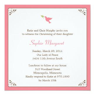 Pink Dove Baptism/Christening Invitation